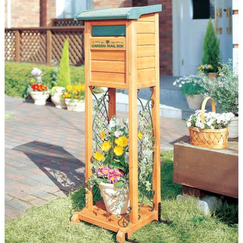 【アイリスオーヤマ】ガーデンメールボックス ブラウン/グリーン MGB-122