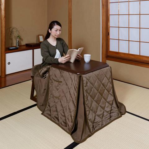 【ユアサ】一人用やすらぎこたつ テーブル・椅子・布団3点セットYG-55SET-MB
