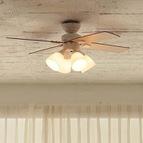 【plusmore】LED対応 4灯 シーリングファン Windouble ホワイト リモコン付き 簡単取り付け BIG-101-WH