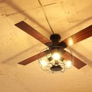 【JAVALO ELF】 VINTAGE Collection LED対応 4灯 シーリングファン エジソン電球 JE-CF002V