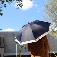 【 a.s.s.a 】晴雨兼用 UVカット 長傘 遮光 ボーダーライン ネイビー 50cm 手開きタイプ FL-070