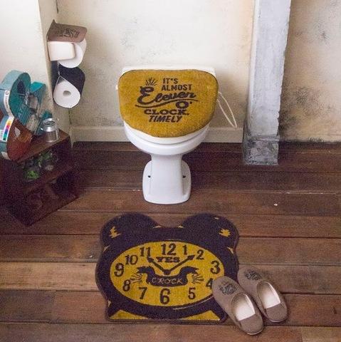 Cozydoors カフェスタイル トイレ2点セット(フタカバー&トイレマット)洗浄・暖房専用 Eleven o'clock