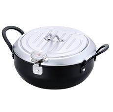 【日本製】IH対応 天ぷら鍋 20cm 油切りになる鉄製蓋付き 温度計付き TM-9467