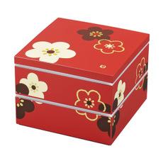 【HAKOYA/ハコヤ】【日本製】 19.5角 二段重 シール蓋付き 朱華文様梅 お弁当箱 3~4人用