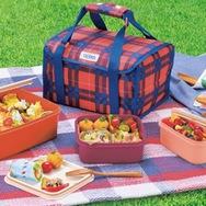 【THERMOS/サーモス】 ファミリーフレッシュランチボックス 2段 保冷バッグ付き レッドチェック