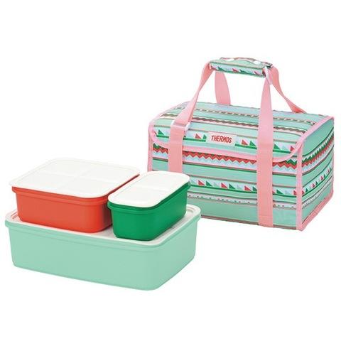 【THERMOS/サーモス】 ファミリーフレッシュランチボックス 2段 保冷バッグ付き ブルーボーダー