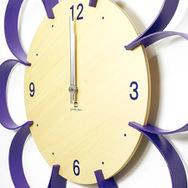 【ヤマト工芸】 【日本製】 掛け時計 FLOWER CLOCK 紫色( パープル) YK10-103