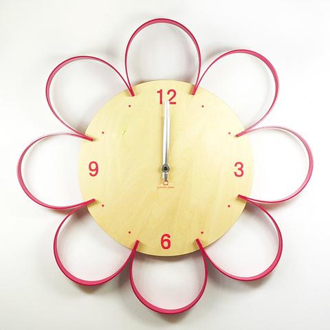 【ヤマト工芸】 【日本製】 掛け時計 FLOWER CLOCK 桃色(ピンク) YK10-103