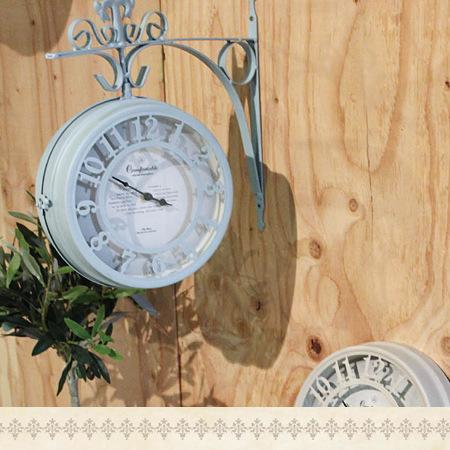 【SPICE/スパイス】 壁掛け 両面時計 OLD STREET ボスサイドクロック L ブラウン NHE801LBR