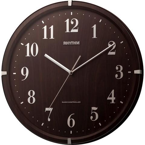 【RHYTHM/リズム時計】ライブリーアリス 電波掛け時計 茶色