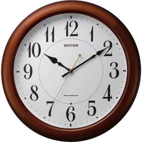 【RHYTHM/リズム時計】電波掛け時計 ピュアライトM25 茶色