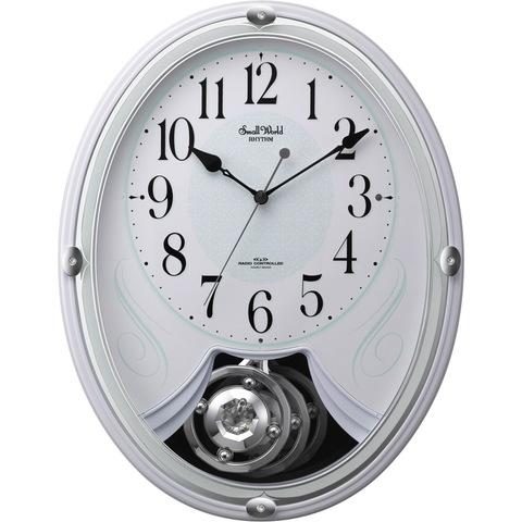 【RHYTHM/リズム時計】Small World  リリィ メロディ付電波時計 白色