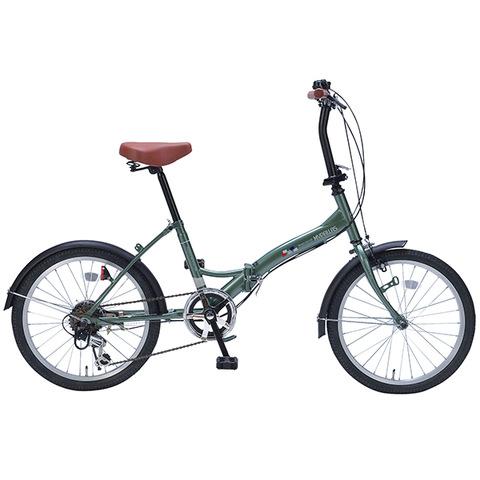 【マイパラス20型折りたたみ自転車 6ギア グリーン M-209 GR