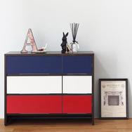 【ナスラック】リビング家具 W900チェスト 3トーン ブルー×レッド 完成品 日本製 自社工場生産