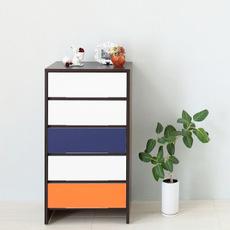 【ナスラック】リビング家具 W600ハイチェスト 3トーン ブルー×オレンジ 完成品 日本製(自社工場生産)