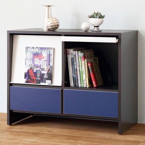 【ナスラック】リビング家具 W900フラップキャビネット ブルー 完成品 日本製(自社工場生産)
