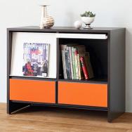 【ナスラック】リビング家具 W900フラップキャビネット オレンジ 完成品 日本製(自社工場生産)
