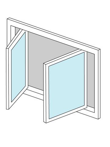 両縦すべり出し窓