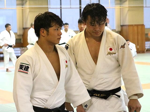 男子66kg級 阿部一二三選手と男子90kg級 向 翔一郎選手