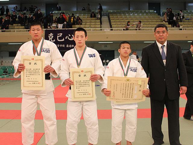 大成高校の川田(90kg級)<br>・古賀(73kg級)・永山(60kg級)