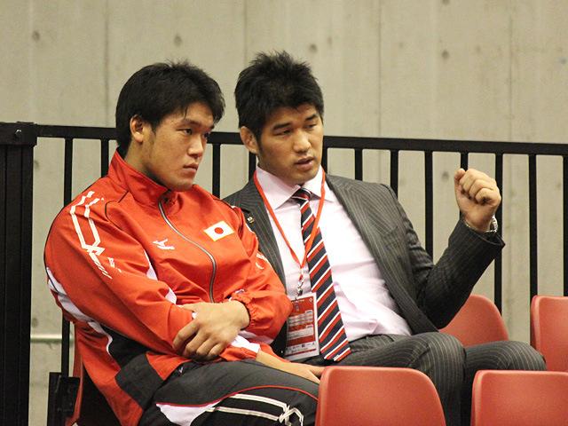 男子100kg級羽賀選手と井上監督