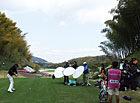 スイング撮影中の石川選手