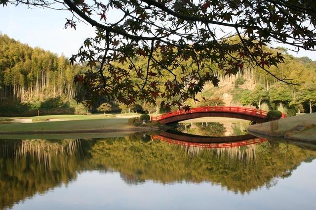 紅葉越し、水面に映る逆さ橋