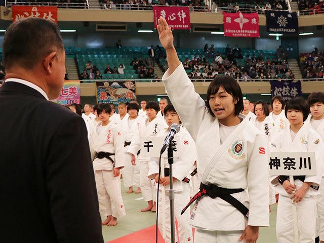 選手宣誓 渋谷教育学園渋谷高校中水流選手