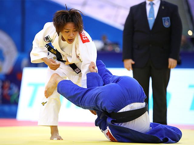 2018年バクー世界柔道選手権大会/国別団体戦 女子48kg級 3回戦 渡名喜風南 vs Y.KANG�A