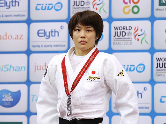 2018年バクー世界柔道選手権大会/国別団体戦 女子52kg級 表彰式 志々目愛