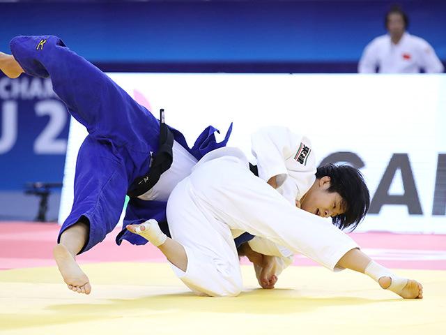 2018年バクー世界柔道選手権大会/国別団体戦 女子57kg級 2回戦 芳田司 vs A.STOLL�@