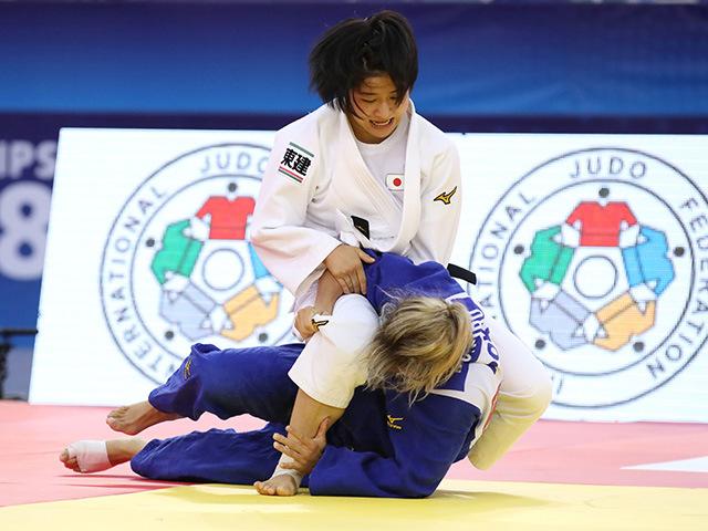 2018年バクー世界柔道選手権大会/国別団体戦 女子57kg級 3回戦 芳田司 vs T.MONTEIRO�@