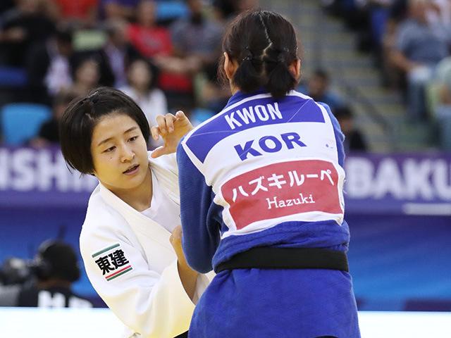 2018年バクー世界柔道選手権大会/国別団体戦 女子57kg級 準々決勝 芳田司 vs Y.KWON�A