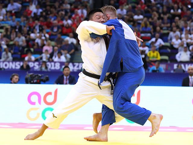 2018年バクー世界柔道選手権大会 男子81kg級 準決勝 藤原崇太郎 vs D.RESSEL�A