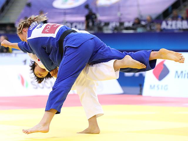 2018年バクー世界柔道選手権大会/国別団体戦 女子70kg級 2回戦 新井千鶴 vs G.HOWELL�@