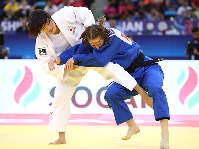 2018年バクー世界柔道選手権大会/国別団体戦 女子70kg級 3回戦 新井千鶴 vs G.SCOCCIMARRO�A
