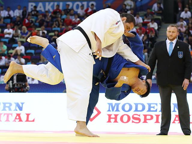 2018年バクー世界柔道選手権大会/国別団体戦 男子100kg超級 2回戦 原沢久喜 vs R.SILVA�A